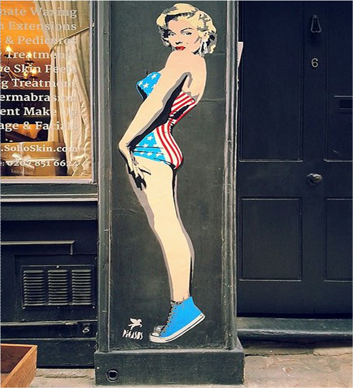 Pegasus' installation of the fabulous Marilyn Monroe wearing American sneakers and hot pants